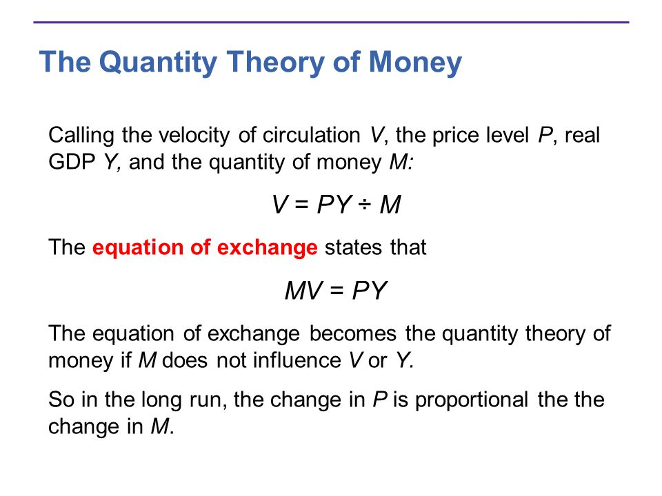 The Quantity Theory of Money Expressing the equation of exchange in growth rates: Money growth rate + = Inflation rate + Rate of velocity change Real GDP growth Rearranging: Inflation rate = Money growth rate + Rate of velocity change Real GDP growth In the long run, velocity does not change, so Inflation rate = Money growth rate Real GDP growth
