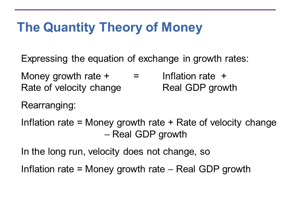 The Quantity Theory of Money Evidence on the Quantity Theory of Money U.S.