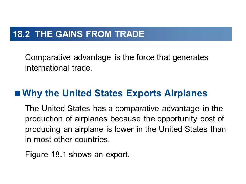 18.2 THE GAINS FROM TRADE Comparative advantage is the force that generates international trade. Why the United States Exports Airplanes The United St