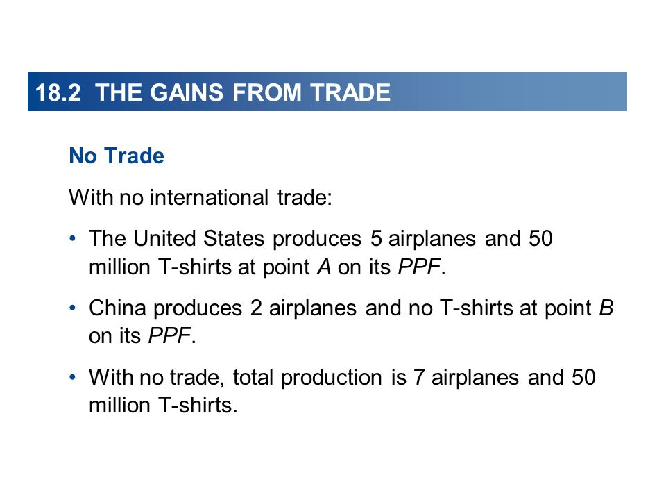 18.2 THE GAINS FROM TRADE No Trade With no international trade: The United States produces 5 airplanes and 50 million T-shirts at point A on its PPF.