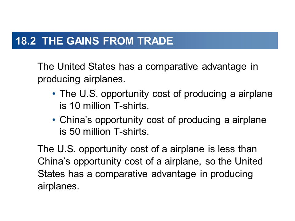 18.2 THE GAINS FROM TRADE The United States has a comparative advantage in producing airplanes. The U.S. opportunity cost of producing a airplane is 1