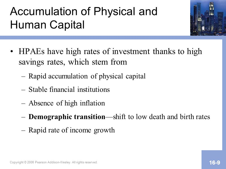 Copyright © 2008 Pearson Addison-Wesley. All rights reserved. 16-9 Accumulation of Physical and Human Capital HPAEs have high rates of investment than