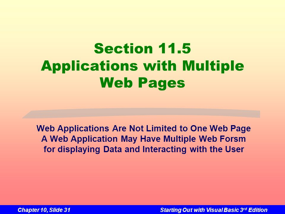 Chapter 10, Slide 31Starting Out with Visual Basic 3 rd Edition Section 11.5 Applications with Multiple Web Pages Web Applications Are Not Limited to