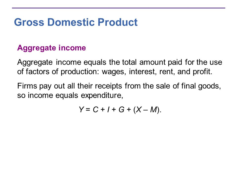 Gross Domestic Product Aggregate income Aggregate income equals the total amount paid for the use of factors of production: wages, interest, rent, and