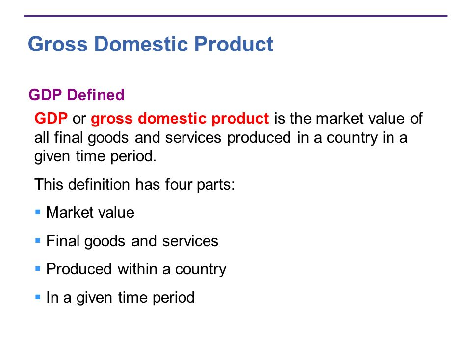 Gross Domestic Product GDP Defined GDP or gross domestic product is the market value of all final goods and services produced in a country in a given
