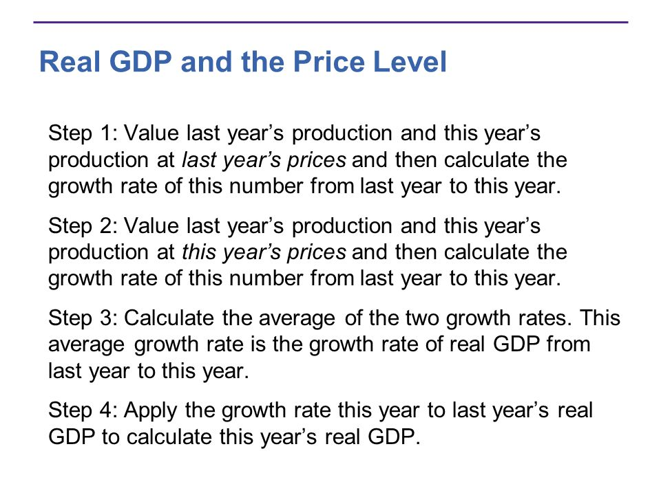 Real GDP and the Price Level Step 1: Value last years production and this years production at last years prices and then calculate the growth rate of