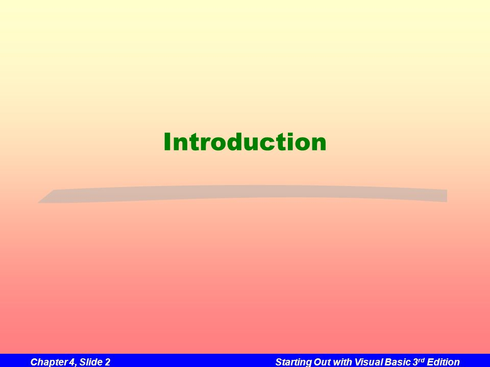 Chapter 4, Slide 2Starting Out with Visual Basic 3 rd Edition Introduction