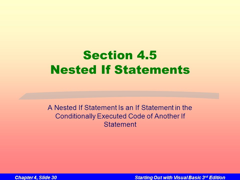 Chapter 4, Slide 30Starting Out with Visual Basic 3 rd Edition Section 4.5 Nested If Statements A Nested If Statement Is an If Statement in the Condit