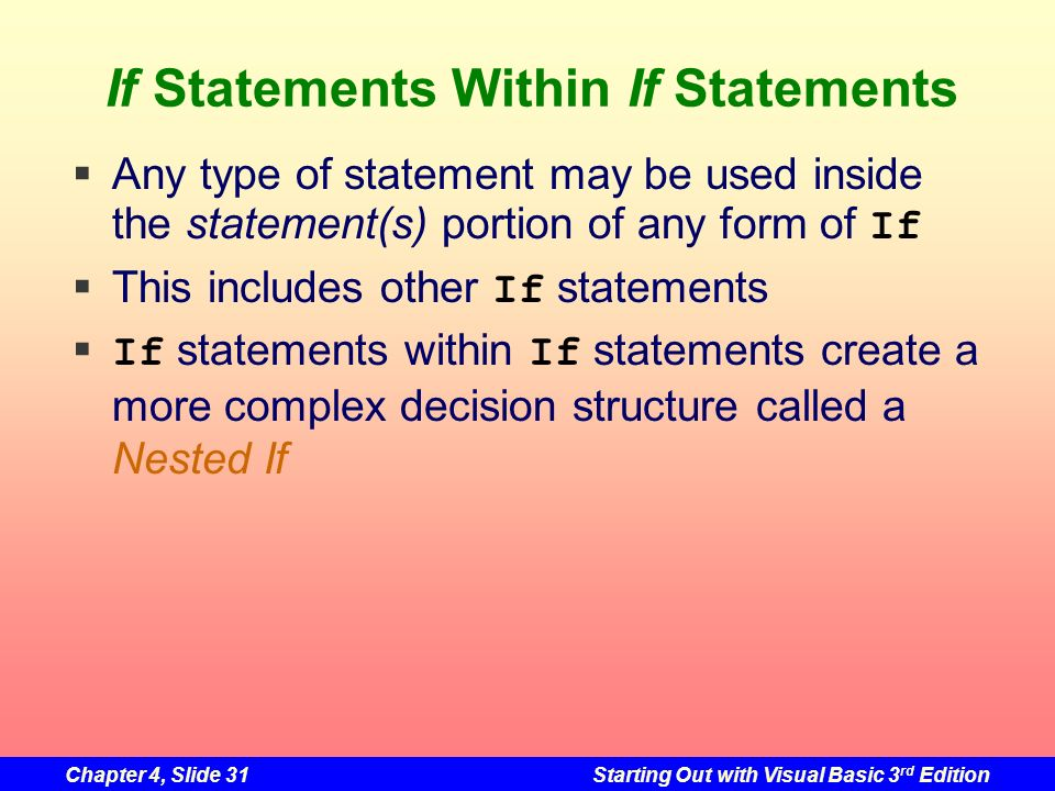 Chapter 4, Slide 31Starting Out with Visual Basic 3 rd Edition If Statements Within If Statements Any type of statement may be used inside the stateme