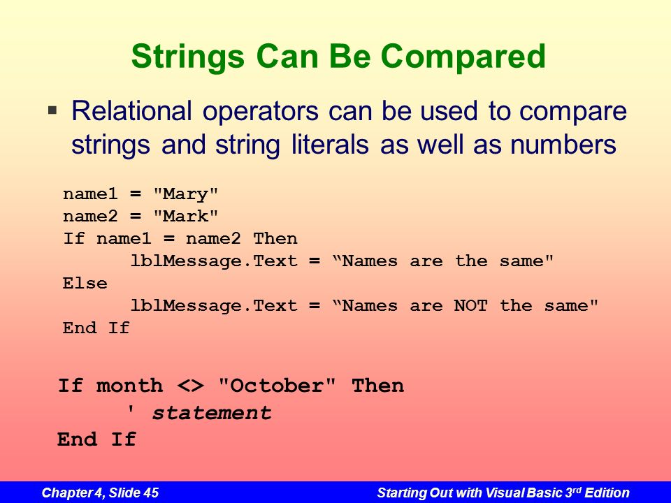Chapter 4, Slide 45Starting Out with Visual Basic 3 rd Edition Strings Can Be Compared name1 =