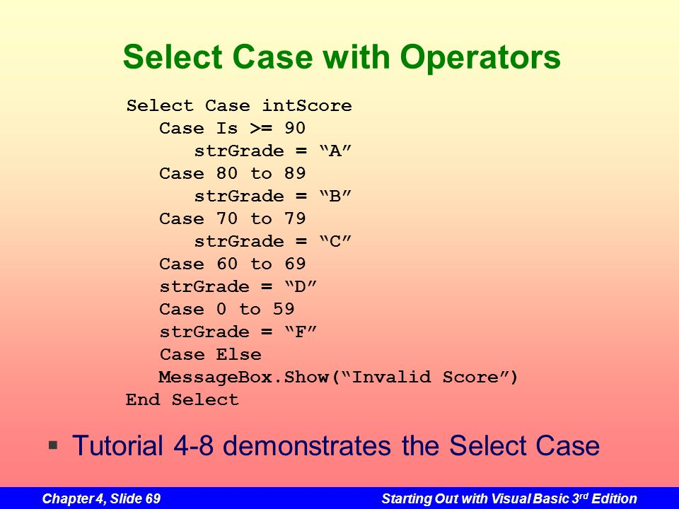 Chapter 4, Slide 69Starting Out with Visual Basic 3 rd Edition Select Case with Operators Select Case intScore Case Is >= 90 strGrade = A Case 80 to 8