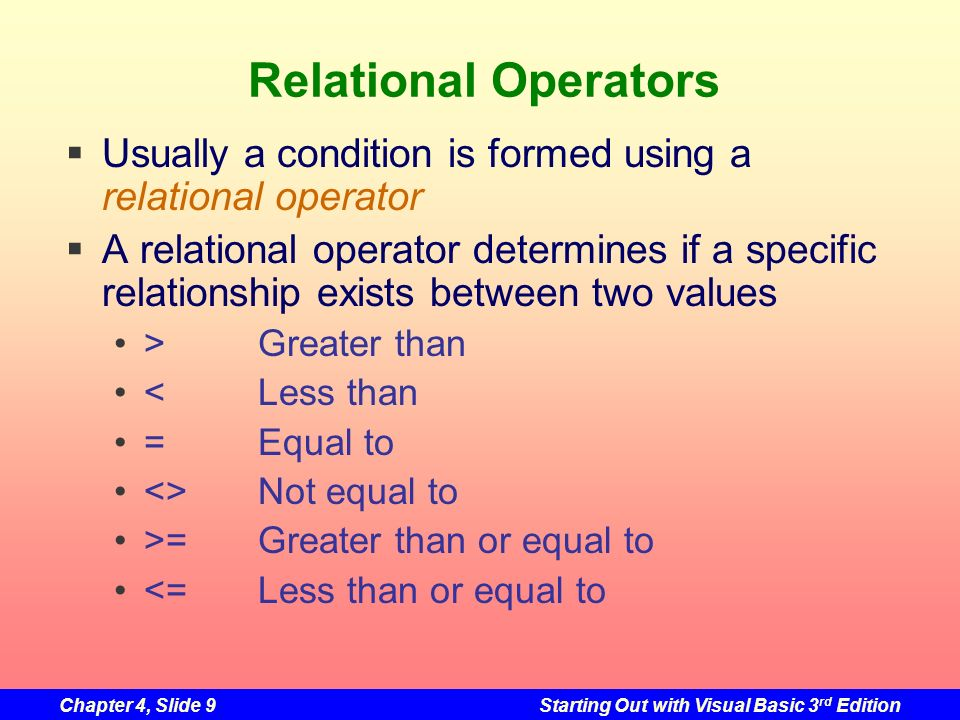 Chapter 4, Slide 9Starting Out with Visual Basic 3 rd Edition Relational Operators Usually a condition is formed using a relational operator A relatio