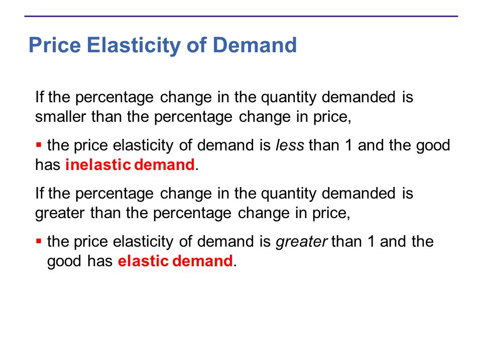 Price Elasticity of Demand If the percentage change in the quantity demanded is smaller than the percentage change in price, the price elasticity of d