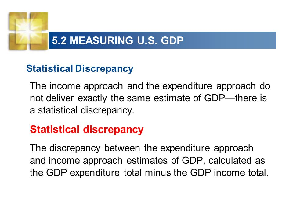 Statistical Discrepancy The income approach and the expenditure approach do not deliver exactly the same estimate of GDPthere is a statistical discrep