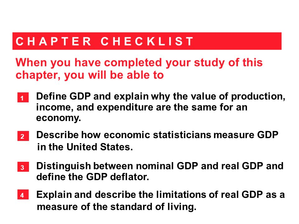 When you have completed your study of this chapter, you will be able to C H A P T E R C H E C K L I S T Define GDP and explain why the value of produc