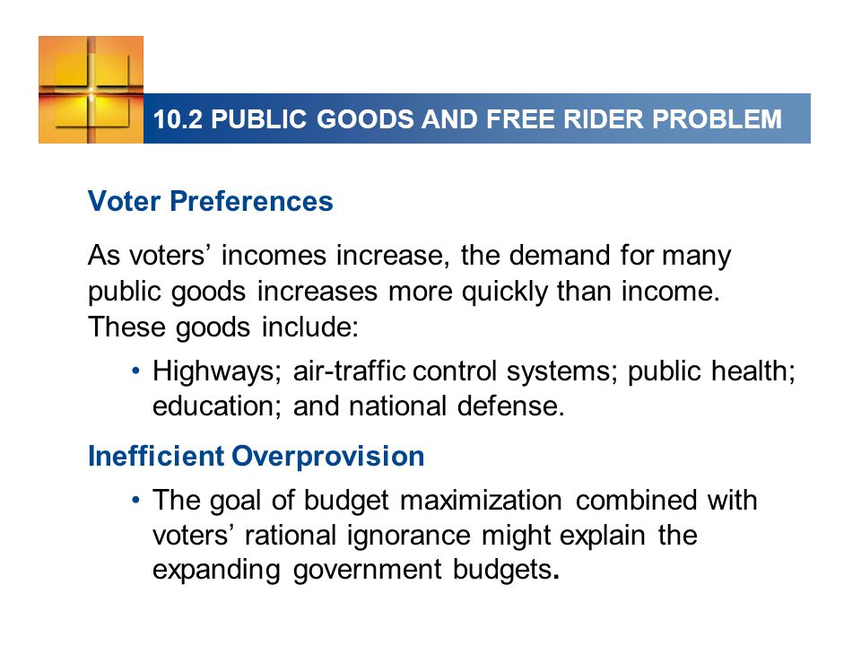 Voter Preferences As voters incomes increase, the demand for many public goods increases more quickly than income.