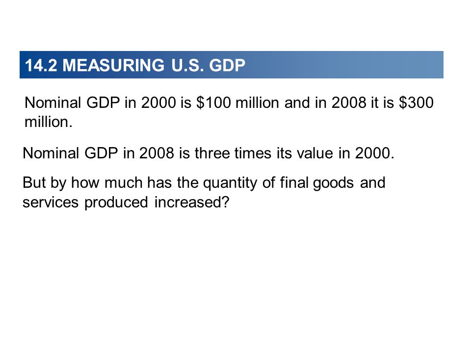 14.2 MEASURING U.S. GDP Nominal GDP in 2008 is three times its value in 2000. But by how much has the quantity of final goods and services produced in