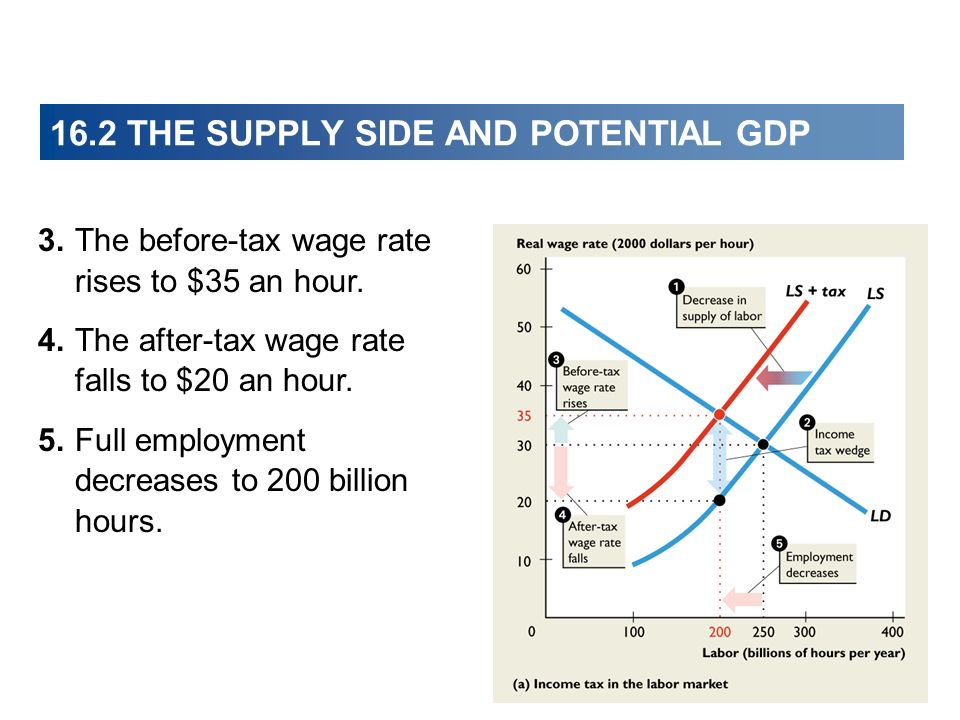 16.2 THE SUPPLY SIDE AND POTENTIAL GDP 3.The before-tax wage rate rises to $35 an hour.