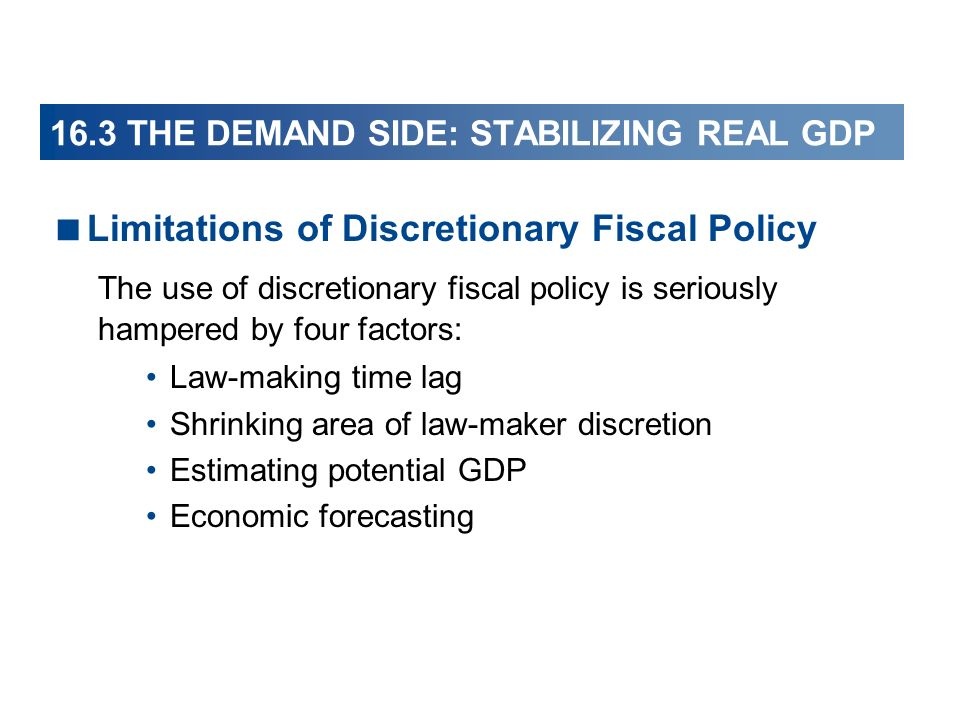 16.3 THE DEMAND SIDE: STABILIZING REAL GDP Limitations of Discretionary Fiscal Policy The use of discretionary fiscal policy is seriously hampered by four factors: Law-making time lag Shrinking area of law-maker discretion Estimating potential GDP Economic forecasting