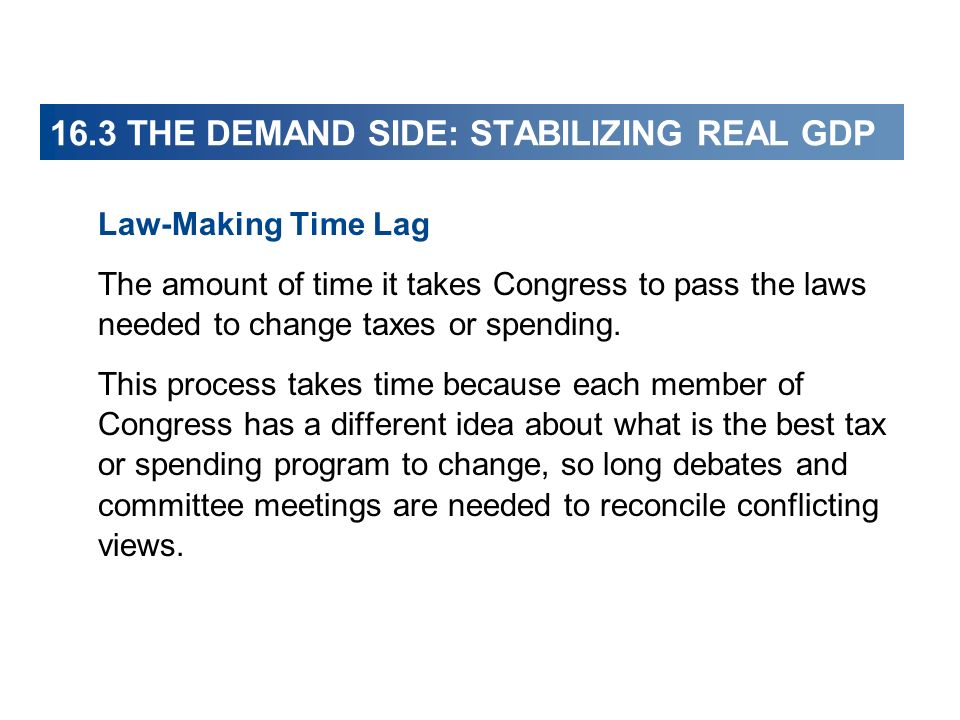16.3 THE DEMAND SIDE: STABILIZING REAL GDP Law-Making Time Lag The amount of time it takes Congress to pass the laws needed to change taxes or spending.