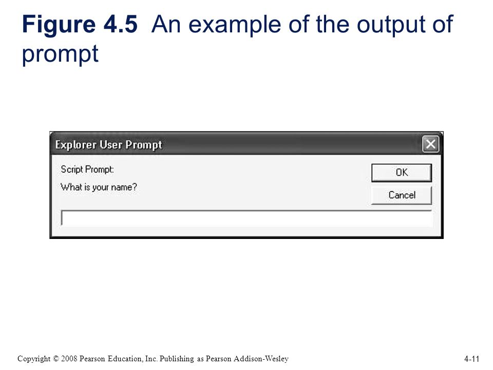 4-11 Copyright © 2008 Pearson Education, Inc. Publishing as Pearson Addison-Wesley Figure 4.5 An example of the output of prompt