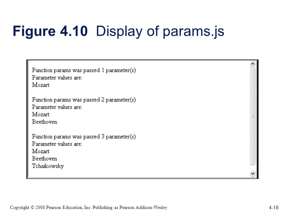 4-18 Copyright © 2008 Pearson Education, Inc. Publishing as Pearson Addison-Wesley Figure 4.10 Display of params.js