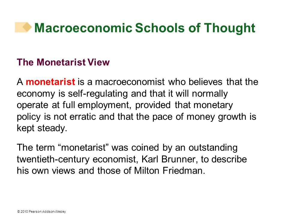 © 2010 Pearson Addison-Wesley Macroeconomic Schools of Thought The Monetarist View A monetarist is a macroeconomist who believes that the economy is s