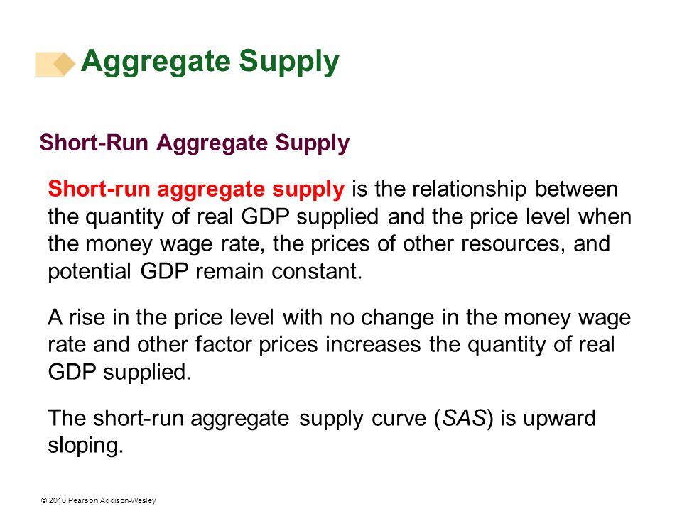 © 2010 Pearson Addison-Wesley Short-Run Aggregate Supply Short-run aggregate supply is the relationship between the quantity of real GDP supplied and