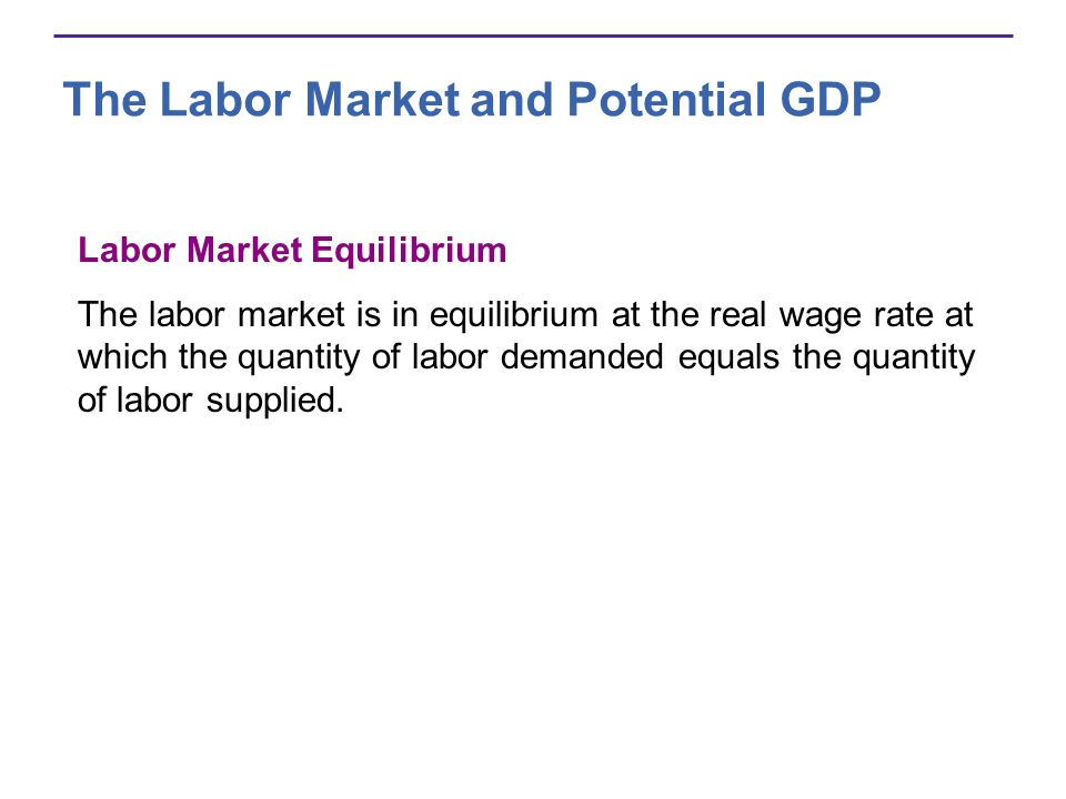 The Labor Market and Potential GDP Labor Market Equilibrium The labor market is in equilibrium at the real wage rate at which the quantity of labor de