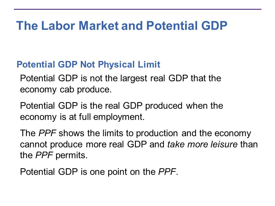 The Labor Market and Potential GDP Potential GDP Not Physical Limit Potential GDP is not the largest real GDP that the economy cab produce. Potential
