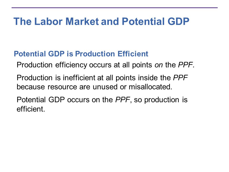 The Labor Market and Potential GDP Potential GDP is Production Efficient Production efficiency occurs at all points on the PPF. Production is ineffici