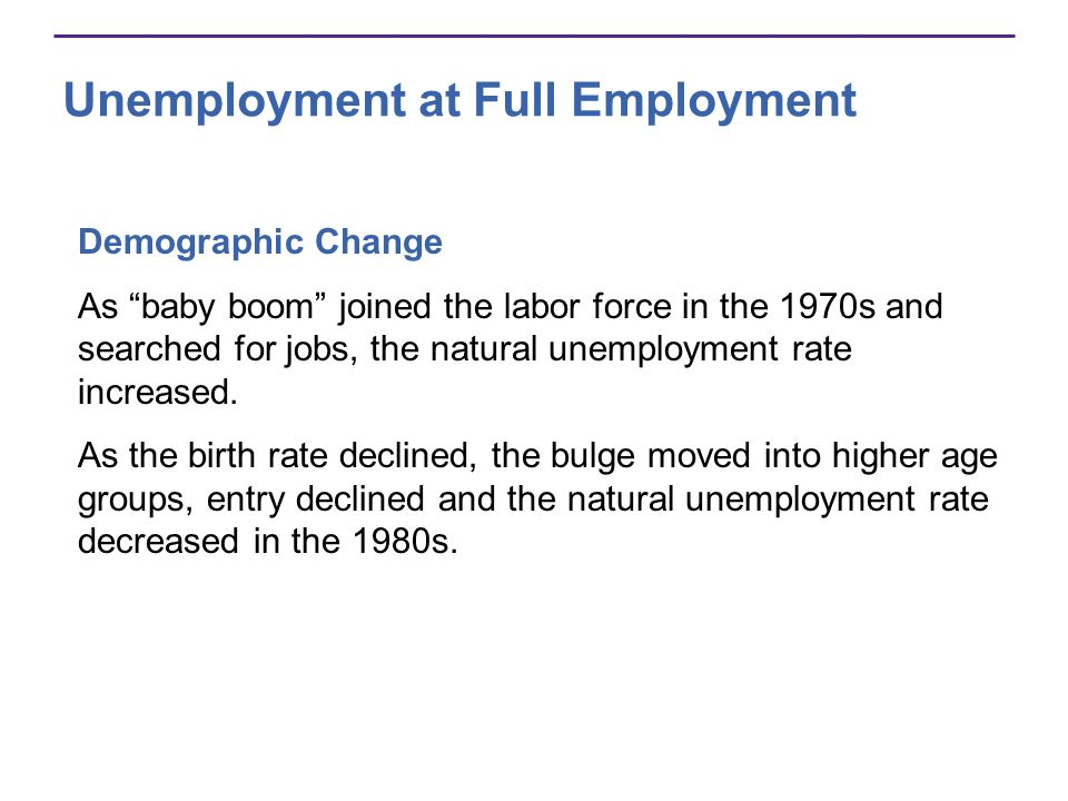 Unemployment at Full Employment Demographic Change As baby boom joined the labor force in the 1970s and searched for jobs, the natural unemployment ra