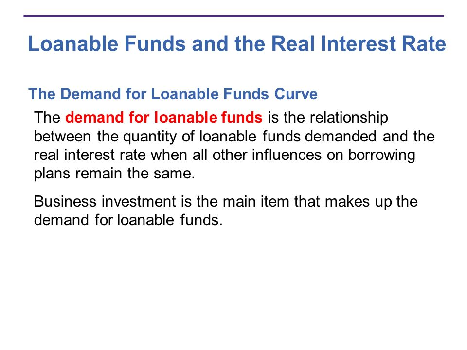 Loanable Funds and the Real Interest Rate The Demand for Loanable Funds Curve The demand for loanable funds is the relationship between the quantity o