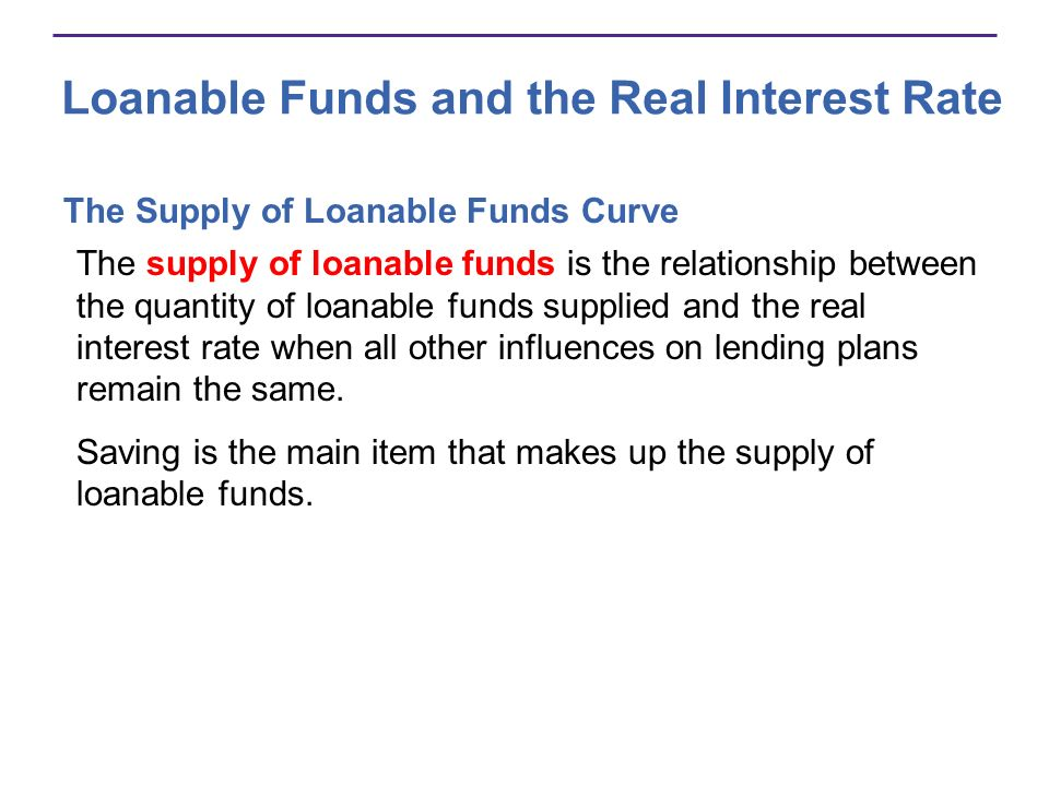 Loanable Funds and the Real Interest Rate The Supply of Loanable Funds Curve The supply of loanable funds is the relationship between the quantity of
