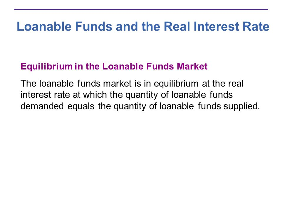Loanable Funds and the Real Interest Rate Equilibrium in the Loanable Funds Market The loanable funds market is in equilibrium at the real interest ra