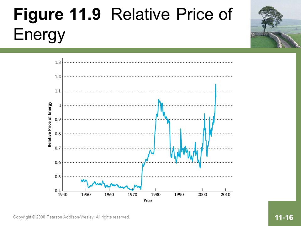 Copyright © 2008 Pearson Addison-Wesley. All rights reserved. 11-16 Figure 11.9 Relative Price of Energy