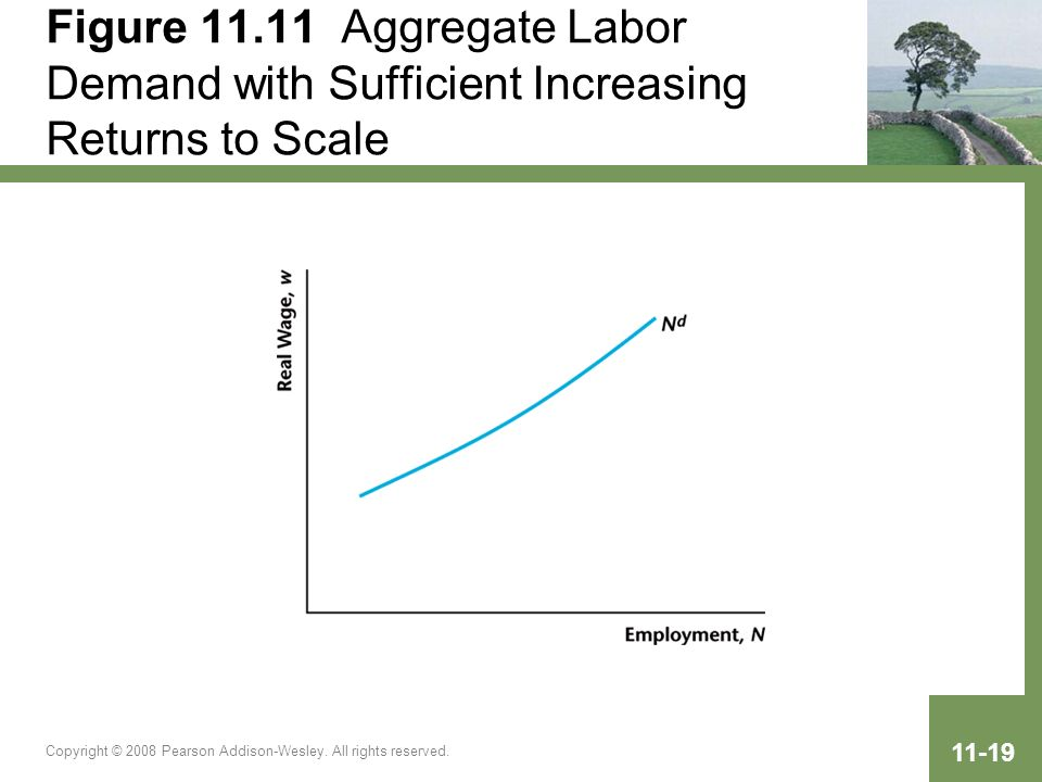 Copyright © 2008 Pearson Addison-Wesley. All rights reserved. 11-19 Figure 11.11 Aggregate Labor Demand with Sufficient Increasing Returns to Scale