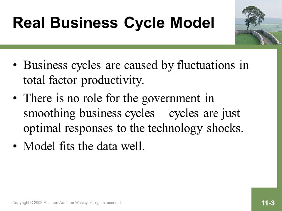Copyright © 2008 Pearson Addison-Wesley. All rights reserved. 11-3 Real Business Cycle Model Business cycles are caused by fluctuations in total facto