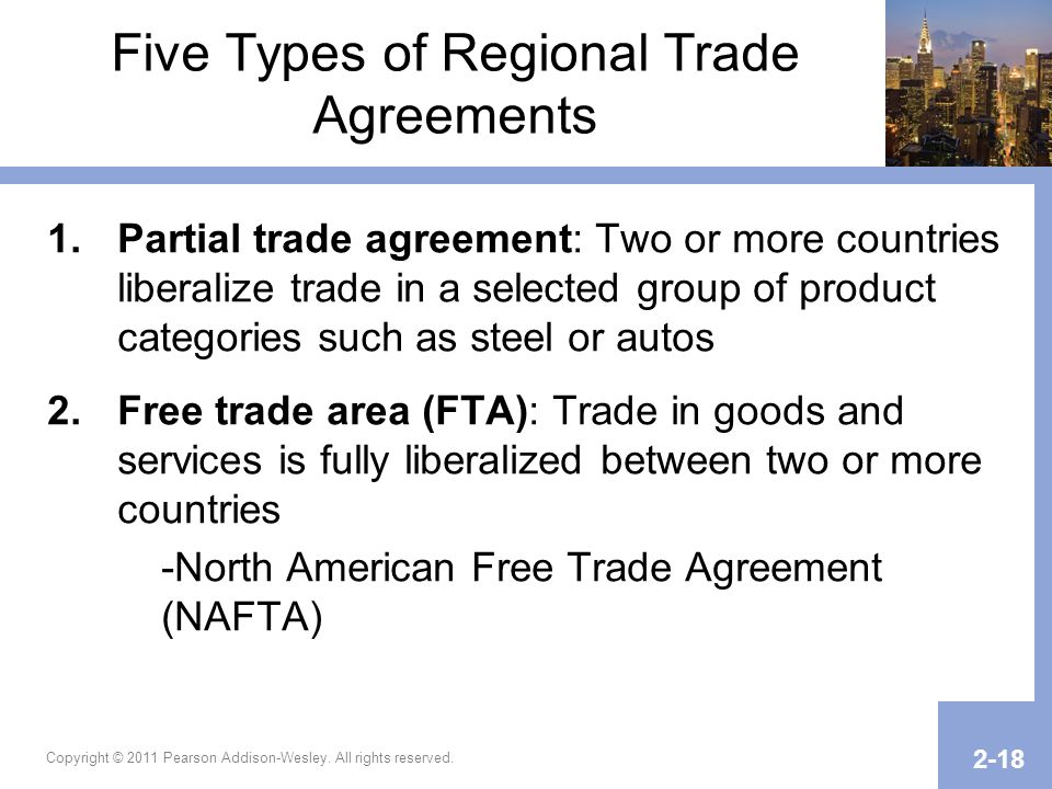Copyright © 2011 Pearson Addison-Wesley. All rights reserved. 2-18 Five Types of Regional Trade Agreements 1.Partial trade agreement: Two or more coun