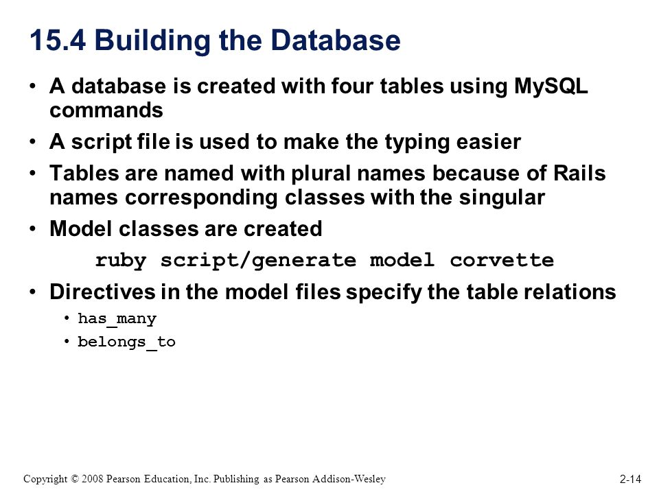 2-14 Copyright © 2008 Pearson Education, Inc. Publishing as Pearson Addison-Wesley 15.4 Building the Database A database is created with four tables u