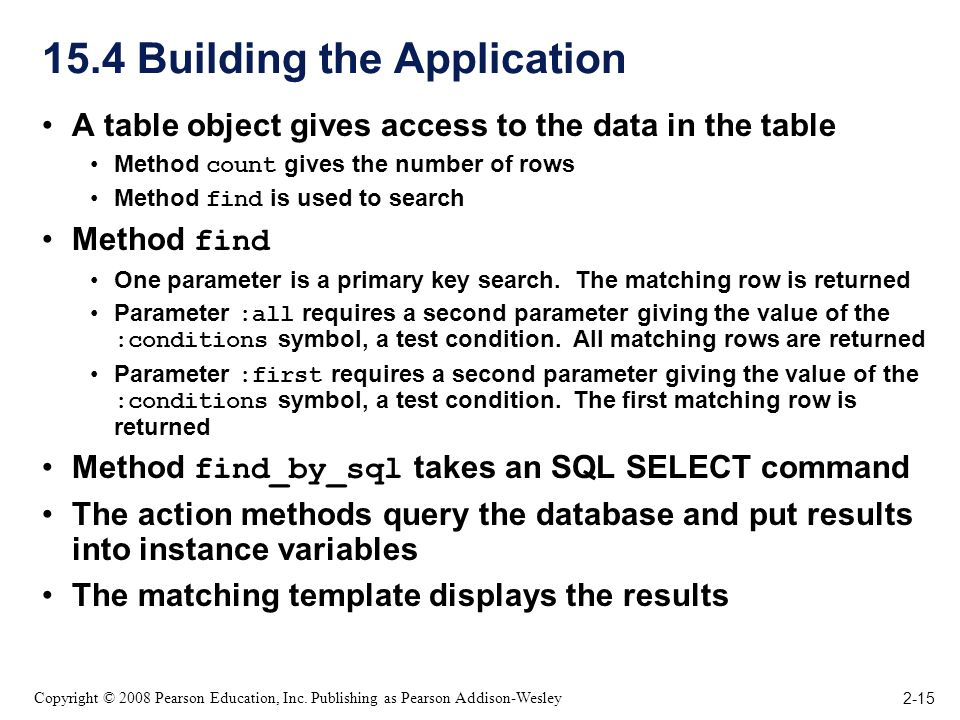 2-15 Copyright © 2008 Pearson Education, Inc. Publishing as Pearson Addison-Wesley 15.4 Building the Application A table object gives access to the da