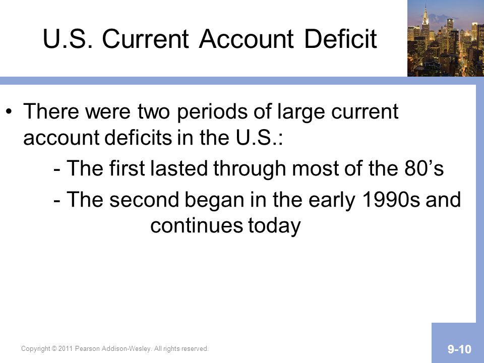 U.S. Current Account Deficit There were two periods of large current account deficits in the U.S.: - The first lasted through most of the 80s - The se