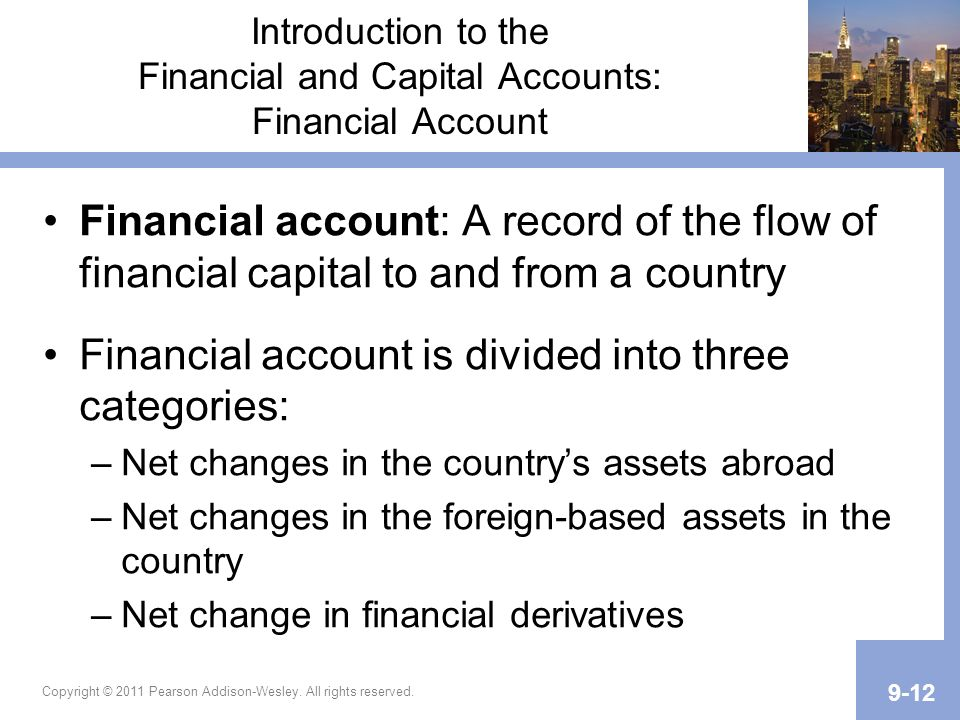 Copyright © 2011 Pearson Addison-Wesley. All rights reserved. 9-12 Introduction to the Financial and Capital Accounts: Financial Account Financial acc