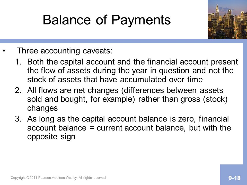 Copyright © 2011 Pearson Addison-Wesley. All rights reserved. 9-18 Balance of Payments Three accounting caveats: 1.Both the capital account and the fi