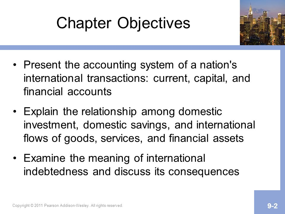 Chapter Objectives Present the accounting system of a nation's international transactions: current, capital, and financial accounts Explain the relati