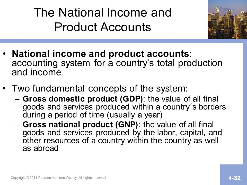 The National Income and Product Accounts National income and product accounts: accounting system for a countrys total production and income Two fundam