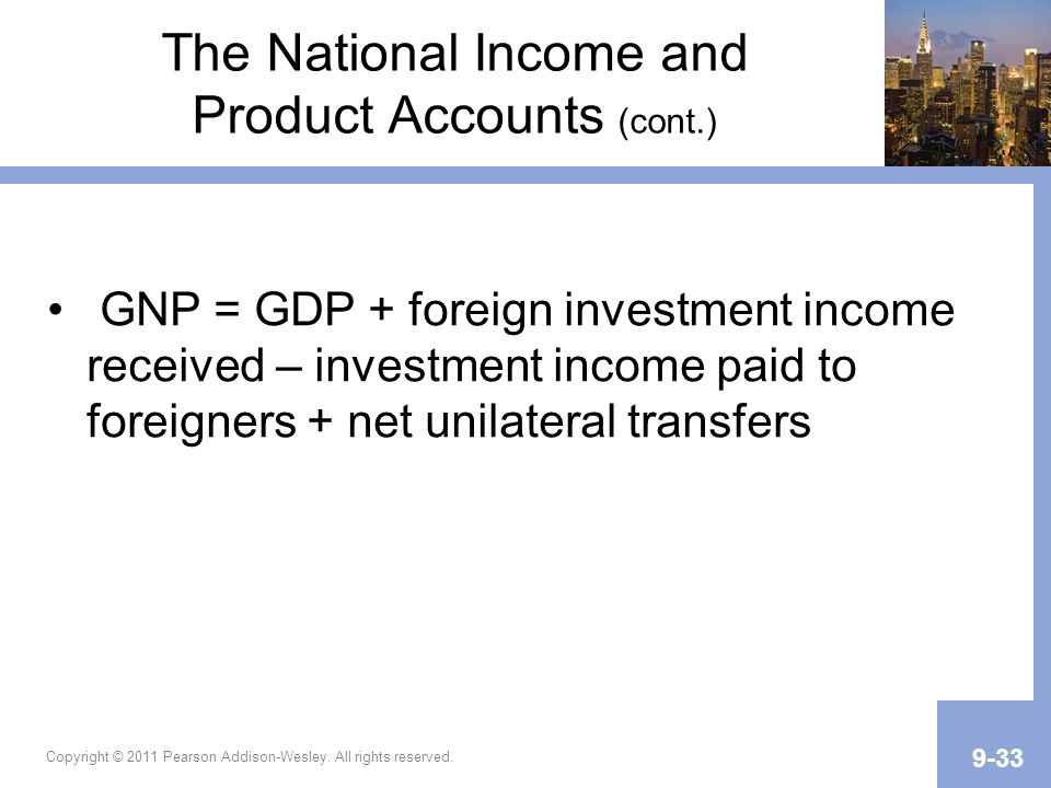 Copyright © 2011 Pearson Addison-Wesley. All rights reserved. 9-33 The National Income and Product Accounts (cont.) GNP = GDP + foreign investment inc