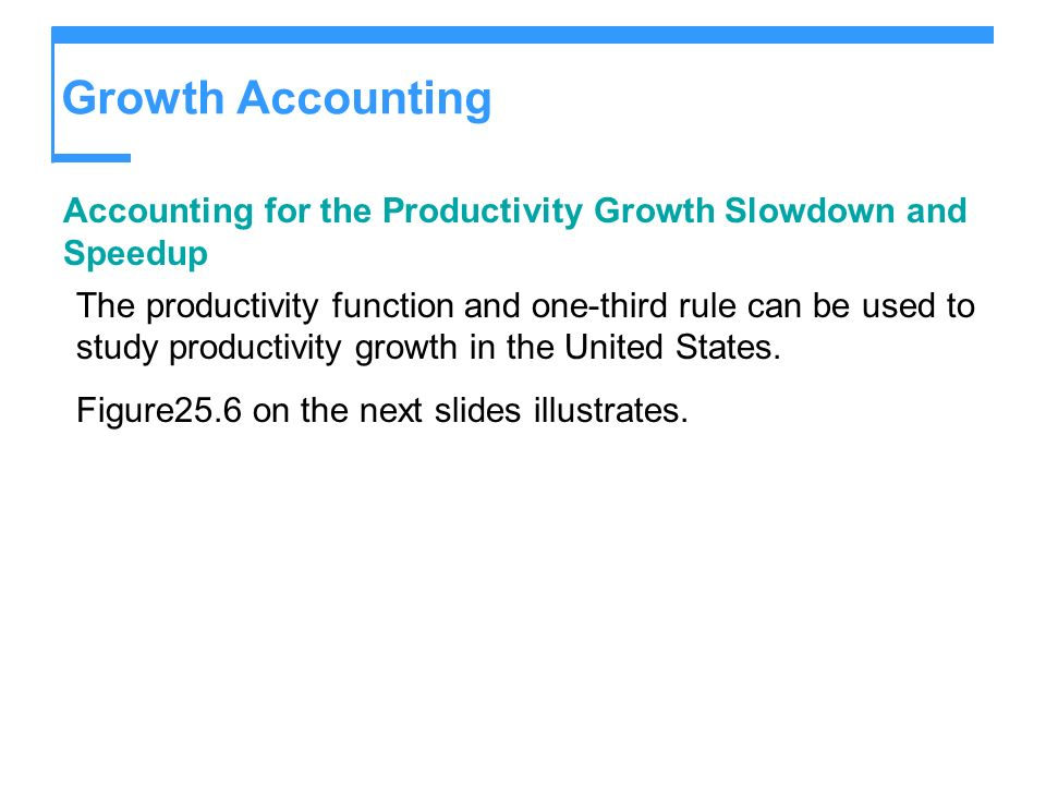 Growth Accounting Accounting for the Productivity Growth Slowdown and Speedup The productivity function and one-third rule can be used to study produc