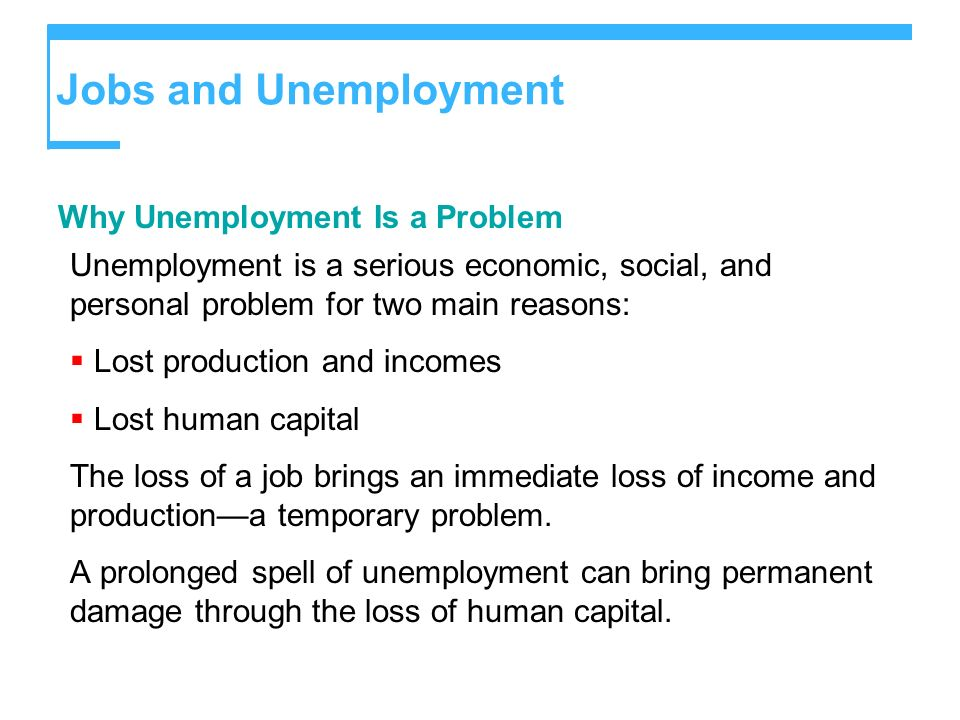 Jobs and Unemployment Why Unemployment Is a Problem Unemployment is a serious economic, social, and personal problem for two main reasons: Lost produc
