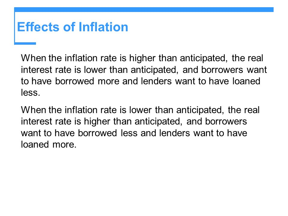 Effects of Inflation When the inflation rate is higher than anticipated, the real interest rate is lower than anticipated, and borrowers want to have